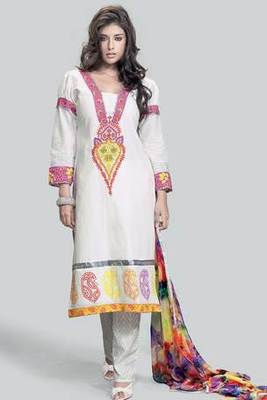 White Pure Cotton Salwar Suit Embellished With Embroidery Work