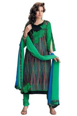 Green Pure Cotton Salwar Suit Design with Embroidery work