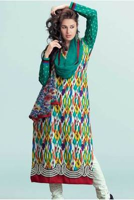 Multi Colour Pure Cotton Salwar Suit Embellished With Embroidery Work