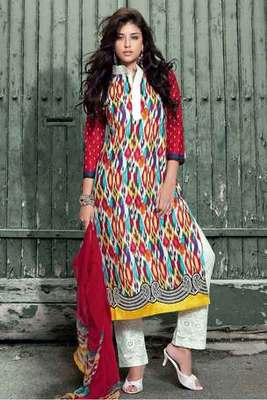 Multi Colour Pure Cotton Salwar Suit Adorned with Embroidery Work