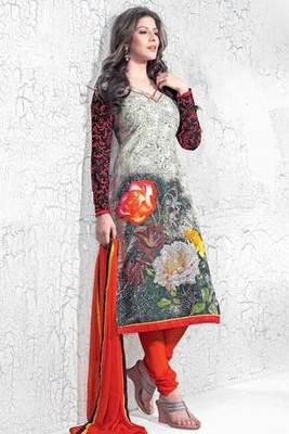 Multi Colour Cotton Salwar Kameez With Red Chiffon Dupatta