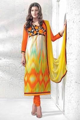 Orange Cotton Embroidered Salwar Kameez Woth Yellow Chiffon Dupatta