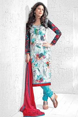 White Printed Salwar Kameez With Magenta Colour Dupatta