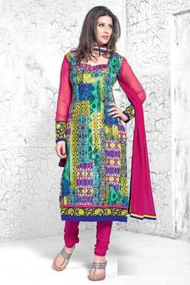 Multi Colour Embroidered Salwar Kameez With Pink Dupatta