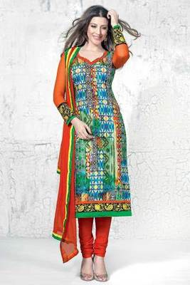 Multi Colour Embroidered Cotton Salwar Kameez With Orange Chiffon Dupatta