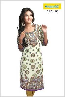 Pakistani style Faux georgette off white printed long kurti