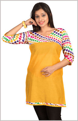 Yellow Kurti with Multicolour Dots