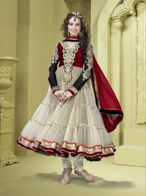 Cream/Red/Black Net Suit with Dupatta - TBRAMA1605