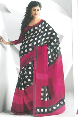 Magenta and Black Dupion Silk Printed Casual and Party Saree