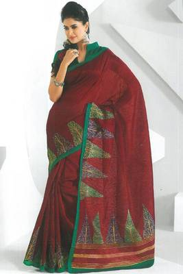 Maroon and Persian Green Dupion Silk Printed Casual and Party Saree