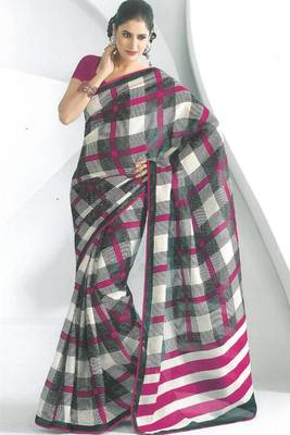 Off-white and Black Dupion Silk Printed Casual and Party Saree