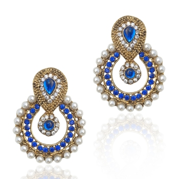 Pearl traditional ethnic Indian traditional blue stone jewelry earring b332b