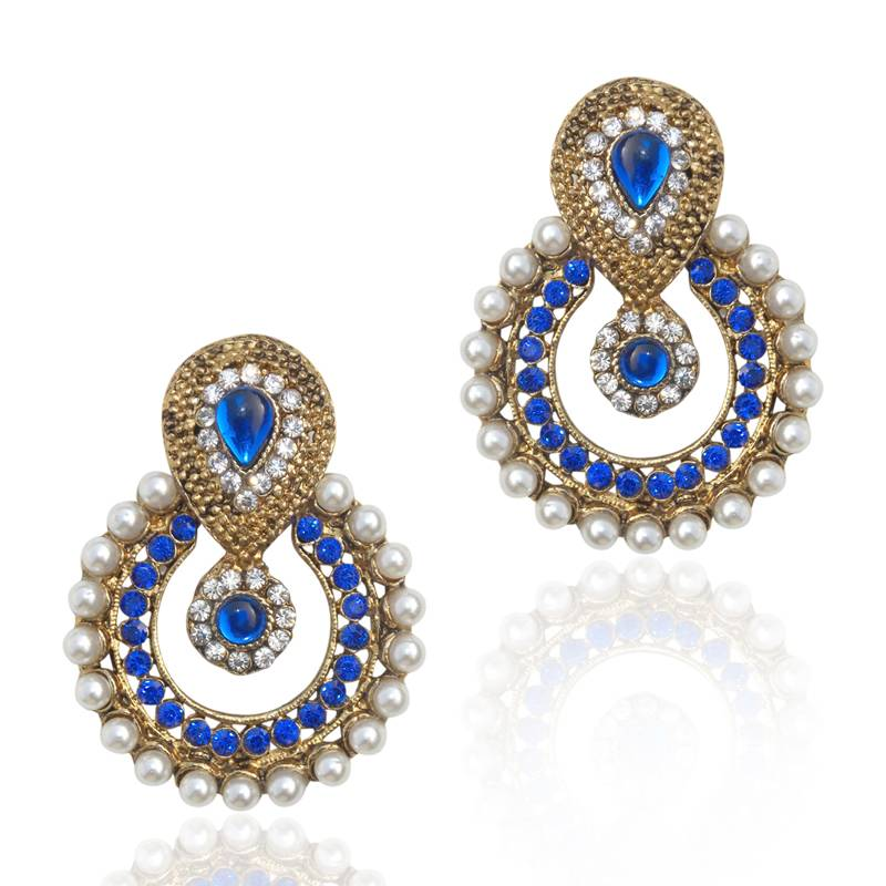 Pearl Traditional Ethnic Indian Traditional Blue Stone Jewelry