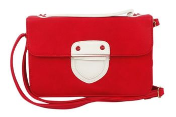 RED  Sling Bag - Colour Blocking with Flap + Push lock Opening - By Dealtz Fashion