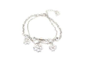 SILVER  METAL 3 Flowers with diamonds row Bracelet  - By Dealtz Fashion