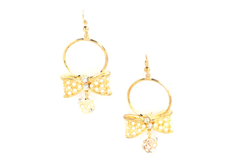 GOLD  METAL Bow Dangle Hoop Earing w/ + clear crystal Charm & Back - By Dealtz Fashion