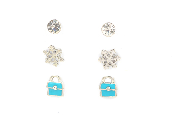 SILVER  METAL Set of 6 - Blue Purse + Single Stone + Silver Flower Stud set - By Dealtz Fashion