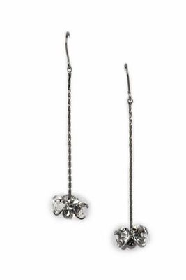 GUNMETAL  METAL Multi stone sphere Single Line drop earring  - By Dealtz Fashion