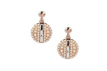 GOLD  METAL Pearl + Crystal studded Round Dange Earring - By Dealtz Fashion