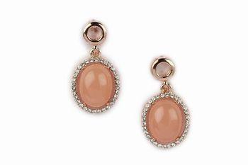 GOLD  METAL Diamond lining + Peach Colour resin stone round earring  - By Dealtz Fashion