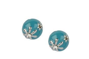 BLUE  METAL Silver colour Flower with enamel stud earring - By Dealtz Fashion