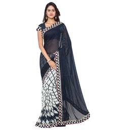 Buy blue printed pure georgette saree With Blouse women-ethnic-wear online