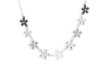 SILVER  METAL Multi colour embellished flowers single line necklace (20 cm) - By Dealtz Fashion