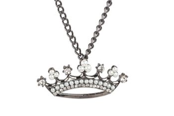 GUNMETAL  METAL Stone studded crown pendant necklace (30 cm) - By Dealtz Fashion