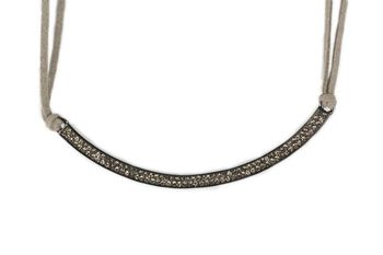 GUNMETAL  METAL Grey Lace Chain + crystal studded cresent pendant necklace  - By Dealtz Fashion