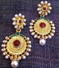 Buy Elegant flower pearl polki Indian Pakistani jewelry red green earring a252 gifts-for-wife online