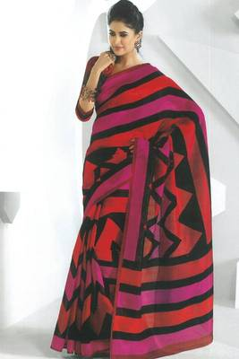 Red and Black Dupion Silk Printed Casual and Party Saree