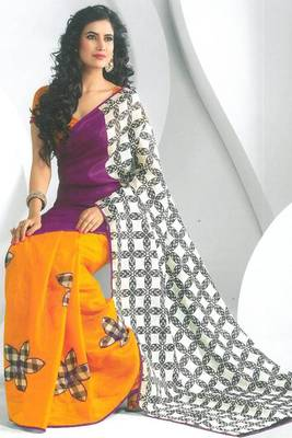 Red-violet and Orange Peel Dupion Silk Printed Party Saree