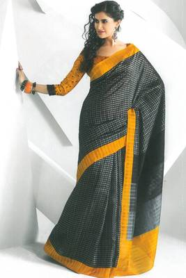 Silver Gray and Black Dupion Silk Printed Casual and Party Saree