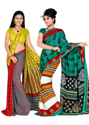 Georgette Sarees by Dealtz Fashion - Set of 2