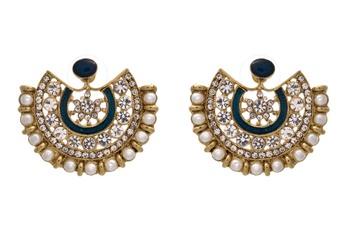 JFL - Fusion Ethnic One Gram Gold Plated Austrian Diamond Pearl Blue Meenakari Designer Moon Earring