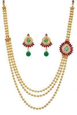 ANTIQUE GOLDEN SIDE PIECE NECKLACE SET