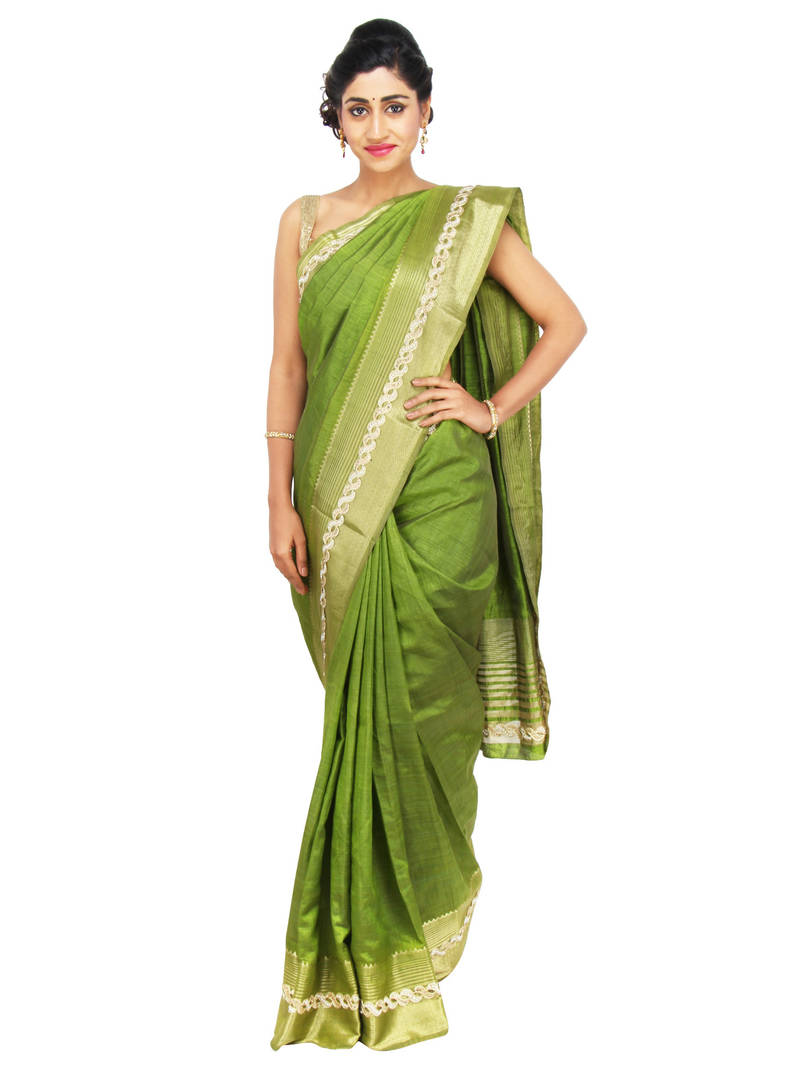 9194f9fa08cb23 mehendi woven bhagalpuri silk saree with blouse - Sweta Sutariya ...