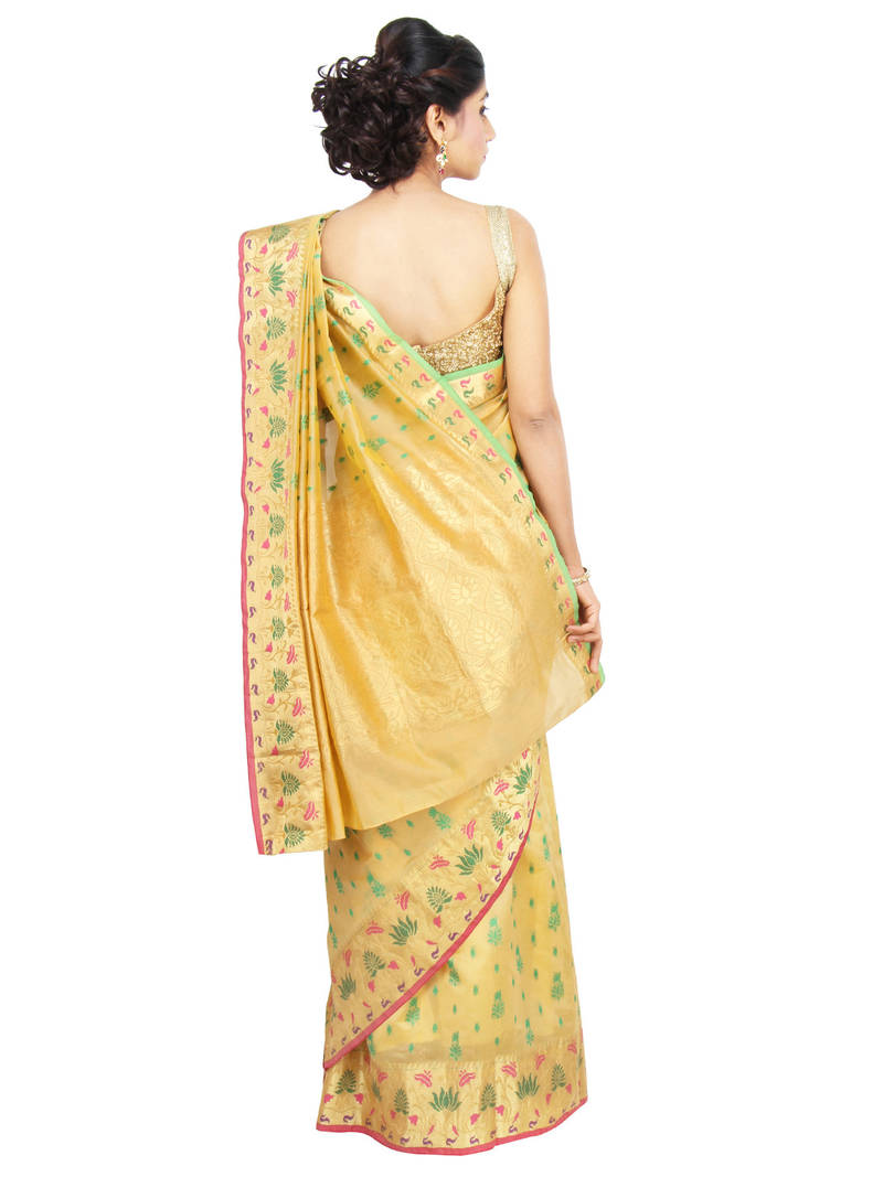 Buy Gold Woven Tissue Saree With Blouse Online