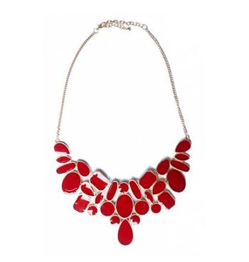 Red Enamel Bib Necklace
