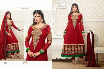 Red & Green Anarkali Dress