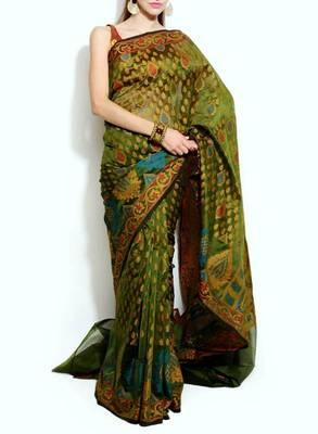 Oraganza cotton fancy banarasi saree