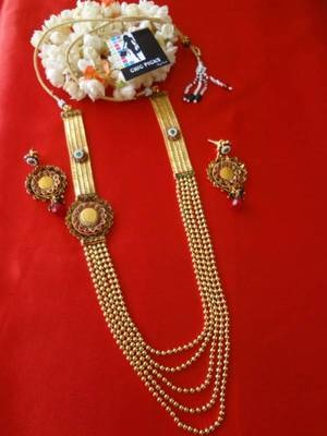 Royal Long Designer laxmirani haar - Ruby & Emerald