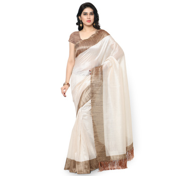 Off White Plain Art Silk Saree With Blouse