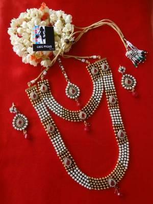 Designer Pearl & Ruby Delight Bridal set - Long & Short Necklace