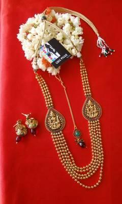 Laxmi Ji motif  Haar with bead strings