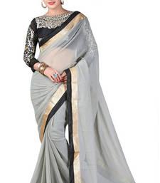 Buy grey embroidered chiffon saree With Blouse chiffon-saree online