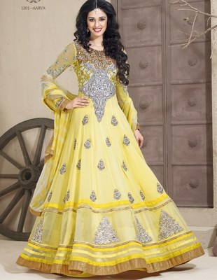 semi stitched long Anarkali suit