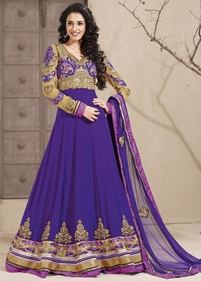 Full length emb. long Anarkali suit