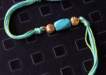 Turquoise And Green Stone Rakhi