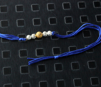 Blue Silver And Gold Rakhi